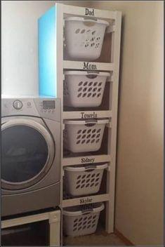 Organize your laundry room. Neat idea if you have the space. Organize your laundry room. Neat idea if you have the space. Organize your laundry room. Neat idea if you have the space. Laundry Room Organization, Laundry Room Design, Laundry Basket Storage, Kitchen Storage, Small Room Organization, Laundry Area, Laundry Station, Laundry Room Baskets, Laundry Organizer