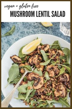 This vegan, gluten-free Mushroom and Lentil Salad is a healthy, light and easy salad that's perfect to bring along to your next BBQ or picnic. #vegan #vegetarian #glutenfree #mushrooms #lentils