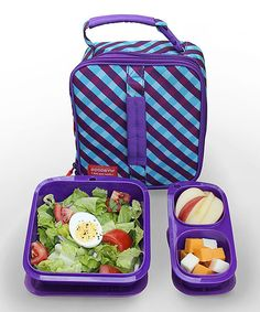 Look at this Purple Gingham Expandable Lunch Set on #zulily today!