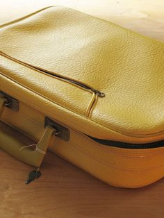Yellow mini suitcase by CZvintage on Etsy