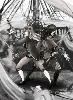 """Are you ready for this? As ready as you are! """" MY PIRATE QUEENS I finally found the time to finish this drawing of Anne and Mary by add the background on photoshop. Both of them are done by markers """" """" Best Assassin's Creed, Assessin Creed, Assassins Creed Black Flag, Pirate Queen, Ac2, I Am A Queen, Video Games, Writing Promts, Markers"""