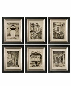"""Find a home in France. Offering all the grace and romance of Paris, these monotone prints bring esteemed European architecture and design to your living room or master suite. Featuring black frames edged in a champagne hue.  Black wood frames  19"""" x 24"""" each"""