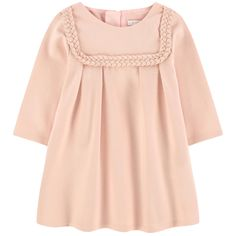 Cotton and modal milano jersey Pleasant to the touch Flared cut Crew neck Long sleeves Front and back pleats Invisible zipper at the back Fancy braids Embroidered brand - $ 146
