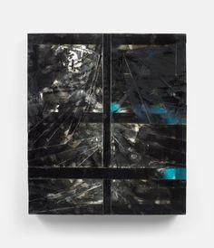 Untitled 1 (Small) (2012) 21 x 24 in., Layered acrylic glass, smashed glass, epoxy, silicone, caulking, spray enamel, paint, reflective vinyl, aluminum tape and wood