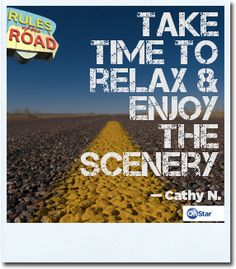 Cathy knows just how to enjoy a long road trip. Repin this if you agree with her. #road #rules #drive #onstar
