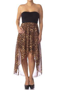 Strapless Sheer Animal Print Dress  $24.99