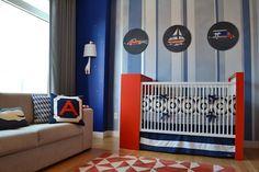 Project Nursery - Custom Sam Simon Nursery Art Blue and Orange Nursery