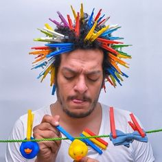 Egyptian conceptual photographer Ahmad El-Abi takes the challenge to his head by stuffing his hair full of random objects. Crazy Hair Day Boy, Crazy Hair For Kids, Crazy Hair Day At School, Crazy Hat Day, Whoville Hair, Wacky Hair Days, Poofy Hair, Boy Hairstyles, Hair Humor