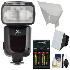 Xit Elite Series Digital Power Zoom AF Flash with Batteries & Charger + Softbox + Bounce Reflector Kit for Canon EOS 6D, 7D, 70D, 5D Mark II III, Rebel T3, T3i, T4i, T5, T5i, SL1 DSLR Cameras. KIT INCLUDES 5 PRODUCTS -- All BRAND NEW Items with all Manufacturer-supplied Accessories + Full USA Warranties:. [1] Xit Elite Series Digital Power Zoom AF Flash with LCD Display (for Canon EOS E-TTL) +. [2] Universal Soft Box Diffuser +. [3] Bounce Flash Reflector +. [4] PD 4x AA Batteries…