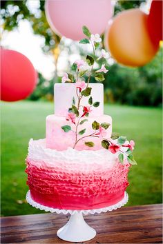 pink ombre wedding cake | pink and red wedding ideas | pink dessert table ideas | #weddingchicks