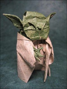 A Yoda origami. Ain't it cool? For all the Star Wars lovers, here's a book to let you create and collect your favorite Star Wars character origami >>> http://www.paperistas.com/star-wars-origami-paperback-art-book/ Designed by Fumiaki Kawahata. Folded by Phillip West from Lokta sandpaper paper back coated to tissue paper. Photo by PhillipWest.