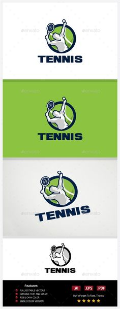 Tennis Logo Template Vector EPS, AI. Download here: http://graphicriver.net/item/tennis-logo/10773638?ref=ksioks