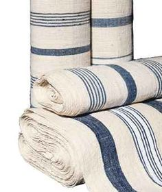 FOUR BOLTS OF BLUE-STRIPED LINEN TICKING Nautical Bedroom, 26 September, Ticking Fabric, Striped Linen, French Country Decorating, Occasional Chairs, Fabric Wallpaper, Ticks, Coastal Living