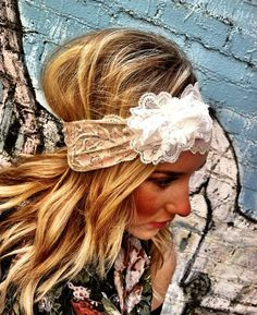 Lacy Wide Headband with White Lace Flower Vintage Headbands, Lace Headbands, Wedding Headband, Wedding Hair, Wedding Stuff, Wide Headband, Lace Flowers, Cute Hairstyles, Bohemian Hairstyles