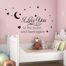 Zwart i love u de maan en terug muur brief decal meisjes kinderkamer decor gratis verzending(China (Mainland))