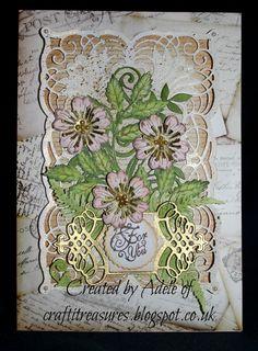 Spellbinder's Cascading Grace die set with Sheena Douglass Wild rose Briar stamp set.