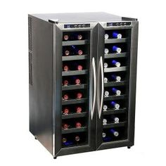 Summer's coming How about a wine cooler for Mom? Whynter 32 Bottle Dual Temperature Zone Wine Cooler, Stainless Steel Trimmed Glass Door with Black Cabinet Wine Refrigerator, Wine Fridge, Wine Storage, Locker Storage, Kitchen Storage, Best Wine Coolers, Steel Racks, Industrial, Stainless Steel Doors