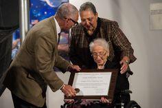 NASA Administrator Bolden gives award certificate to Katherine Johnson Isaac Newton, Marie Curie, Barack Obama, Nasa Langley, Virginia State University, Katherine Johnson, John Glenn, Hidden Figures