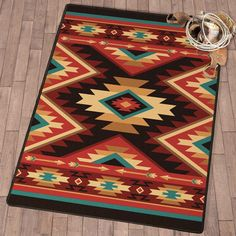 Arrowhead Pass Rug Collection - A Black Forest Décor Exclusive - A bold diamond design in red, turquoise and brown offers southwest style on these premium nylon rugs. Southwest Rugs, Southwest Decor, Southwest Style, Southwestern Chairs, Western Bedding Sets, Black Forest Decor, Muster Tattoos, Navajo Rugs, Scrappy Quilts