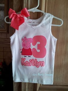Peppa Pig shirt iron on by LizsPartyDesigns on Etsy, $15.00