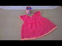 Como hacer un vestido en crochet o ganchillo para niña de 18 meses con terminaciones muy bonitas.