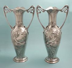 Pair of Large WMF Figural Art Nouveau Vases (item Art Nouveau, Art Deco, Examples Of Art, Wmf, Alphonse Mucha, Cherub, Figurative Art, Pottery, Metallica