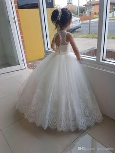 d7f6bd438cf Ivory Flower Girls Dresses Lace Girls Wedding Party Dress Ball Gown Summer  Pleats Tulle With Lace Applique Lace Up Back Ivory Flower Girls Dresses  Modest ...