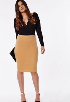 Plus Size Bodycon Midi Skirt Camel