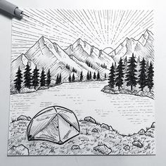 Sketch from yesterday morning! #sketch #iblackwork #sketching #drawing #art #instaart #sketchbook #doodle #illustration #micron #pen #ink #bw #sketch_daily #outdoors #pnwonderland #pnw #northwest #wilderness #camping #tent #msr #sunrise #lake #mountains #landscape #texture