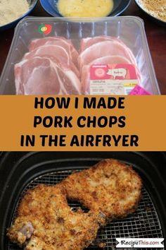 Breaded Air Fryer Pork Chops. How to make bone in pork chops in the air fryer. #airfryerrecipes #airfryerporkchops #airfryerpork