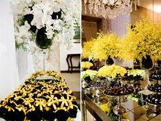 decoração de mesa convidados na cor amarelo e preto - Pesquisa Google