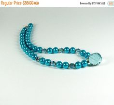 SALE Aqua crystal teardrop necklace Turquoise freshwater pearl necklace Large crystal pendant Single strand special occasion bead jewelry