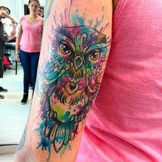 owl tattoo on shoulder