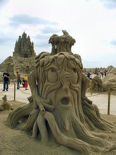an old tree also found in cartoon movies, it's sand art, it's wonderful work, big like for it. please like and share it to your timeline & friends: http://pinterest.com/travelfoxcom/pins/