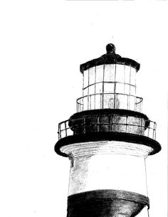 My First Art Project - The Lighthouse. Art Teacher: Bonnie Luckie of the Cottage Gallery in Alexander City, Alabama. Black And White Beach, Clipart Black And White, Black And White Drawing, Sketchbook Drawings, Easy Drawings, Sketches, Lighthouse Drawing, Painted Letters, First Art