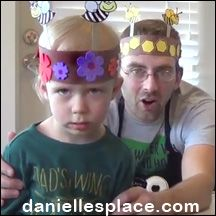 Spring Bee Hat Craft for Children from www.daniellesplace.com - Toddler-tested craft - Watch 2-year-old Logan make a bee hat with his father!