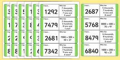 Place Value Loop Cards - 4 Digits