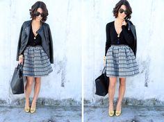 Jacket: Zara; Cardigan: Zara; Skirt: Topshop; Shoes: Miu Miu; Bag: Zara; Sunglasses: Karen Walker;
