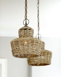 """Mini Jute Pendant at Horchow.  Sold individually; each, 6""""Dia. x 10""""T with 8'L chain.  $211.90 (was 425.00)"""