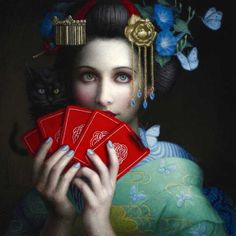 As pinturas com um ar clássico com belas mulheres de Chie Yoshii