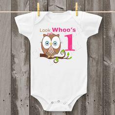 Look Whoo's One Owl Carter's Bodysuit - 1st Birthday (Girl)  (Design 1)  - - - FREE SHIPPING - - -. $15.99, via Etsy.