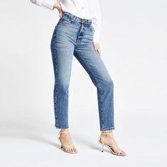 Blue Blair high rise straight jeans | River Island