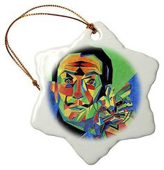 3dRose Salvador Dali Abstract - Snowflake Ornament, Porcelain, 3-Inch (orn_18275_1)