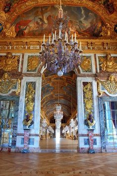 MAJESTIC ENTRANCE TO THE GALLERIE DES GLACES ~ HALL OF MIRRORS AT VERSAILLES.