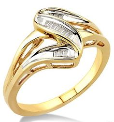 1/20 Ctw Baguette Cut Diamond Wave Ring in 10K Yellow Gold Honor the lasting love of your life with this classic design Wave Diamond Ring, showcasing 12 exquisite baguette cut diamonds in wave and twist motif, beautifully channel set and rendered perfectly on gleaming 10 karat yellow gold. Total diamond weight is 1/20 ctw.