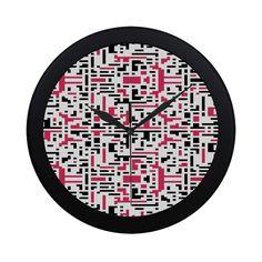 Red and Black Pixels Circular Plastic Wall clock Clock, Plastic, Wall, Red, Watch, Clocks, Walls