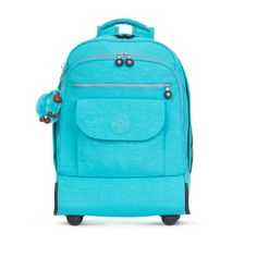 Kipling Sanaa Wheeled Backpack (475 BRL) ❤ liked on Polyvore featuring bags, backpacks, cool turquoise, strap backpack, blue backpack, turquoise backpack, blue bag and turquoise bag