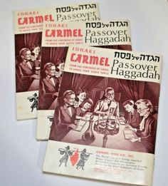 Lot of 3 Passover Haggadah Jewish prayer booklets. Compliments of Israel Carmel Wines. Toning and discoloration from age and storage. 64 pages. Measures x Passover Recipes, Jewish Recipes, Passover Meal, Wine Advertising, Passover Haggadah, Kosher Wine, Prayer Books, Judaism, Gifts For Dad