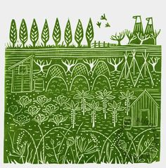 lino print Down the allotment