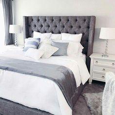 The Benefits Of Grey Upholstered Bed Decor Color Schemes Colour 57 Bedding Master Bedroom, Room Ideas Bedroom, Small Room Bedroom, White Bedroom, Home Decor Bedroom, Small Rooms, Bedding Decor, Bedding Sets, Grey Upholstered Bed